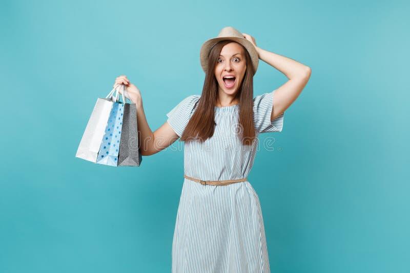 Porträt des aufgeregten lächelnden tragenden Sommerkleides des schönen Mädchens, Hut, der multi farbige Pakettaschen mit Käufen h stockfotografie
