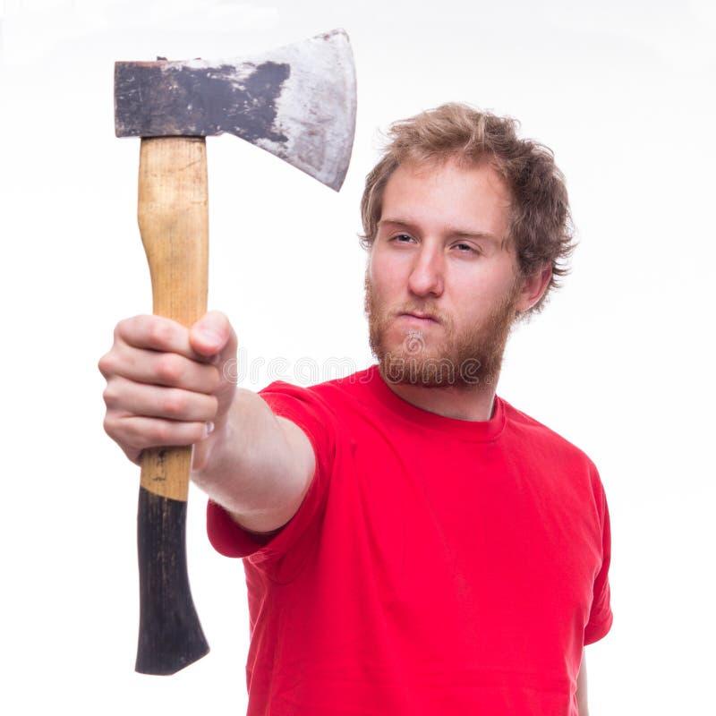 Porträt des bärtigen Holzfällers mit einer Axt lizenzfreie stockfotos