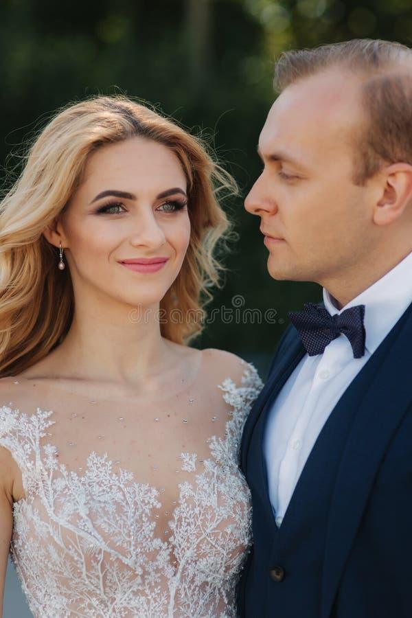 Porträt des Bräutigams und der Braut im Park Nahe hohe Ansicht von schönen Paaren stockfotografie