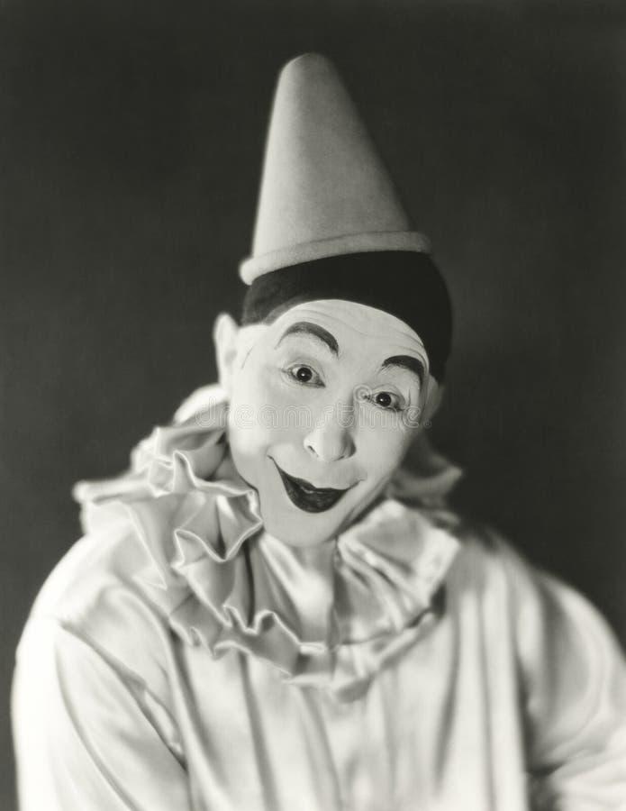Porträt des Clowns mit Narrenkappe stockfotos