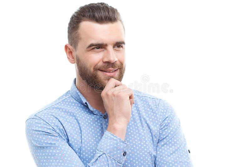 Porträt des denkenden Mannes auf lokalisiertem Hintergrund lizenzfreie stockfotos