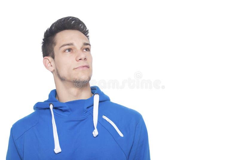 Porträt des durchdachten jungen Mannes stockbilder