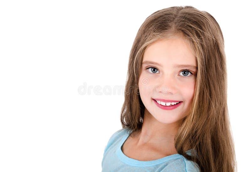Porträt des entzückenden lächelnden glücklichen Kindes des kleinen Mädchens lokalisiert lizenzfreies stockfoto