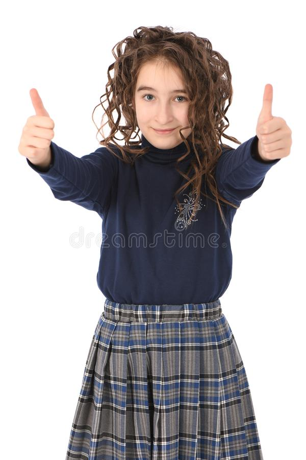 Porträt des entzückenden lächelnden Mädchenkinderschulmädchens mit dem Lockenhaar stockbilder