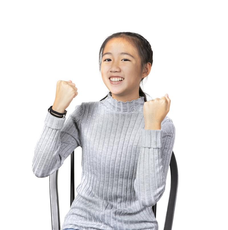 Porträt des frohen Glückgefühls des asiatischen Jugendlichen, erfolgreich lizenzfreie stockfotografie