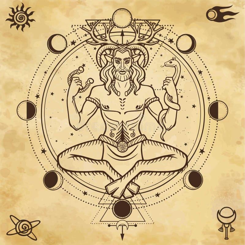 Porträt des gehörnten Gottes Cernunnos vektor abbildung