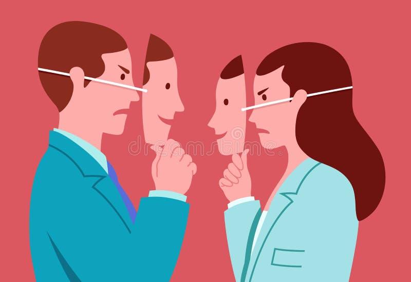Porträt des Geschäftsmannes und der Frau mit den lächelnden Masken, die wirkliche Ausdrücke der gegenseitigen Feindseligkeit vers stock abbildung