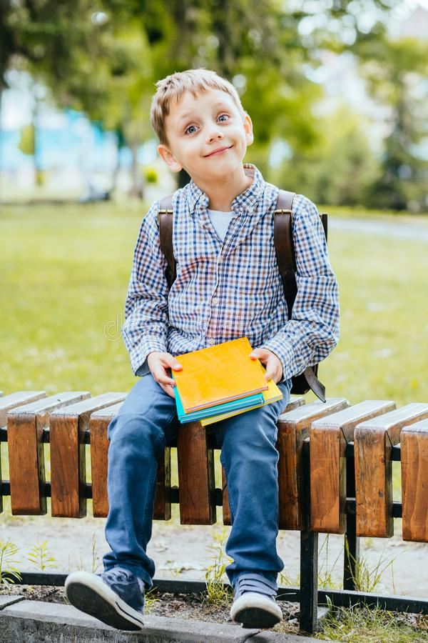Porträt des glücklichen entzückenden Kleinkindjungen, der verschiedene bunte Bücher am ersten Tag zur Schule oder zur Kindertages stockfotografie