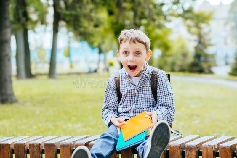 Porträt des glücklichen entzückenden Kleinkindjungen, der verschiedene bunte Bücher am ersten Tag zur Schule oder zur Kindertages lizenzfreies stockbild