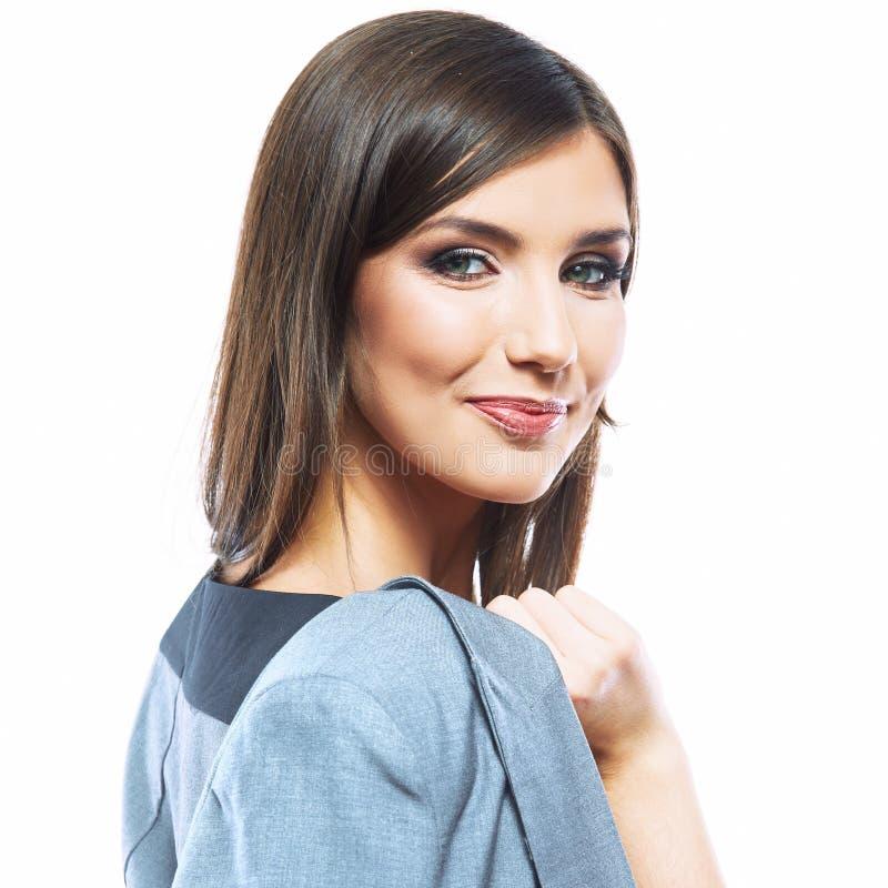 Porträt des glücklichen jungen weißen Hintergrundisolats der Geschäftsfrau lizenzfreies stockfoto