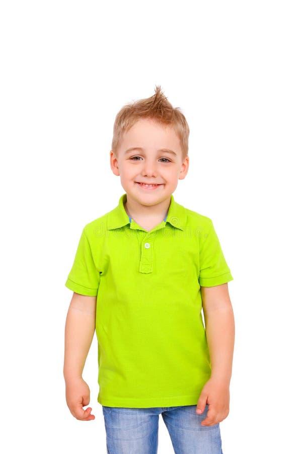 Porträt des glücklichen kleinen Jungen über weißem Hintergrund stockfoto