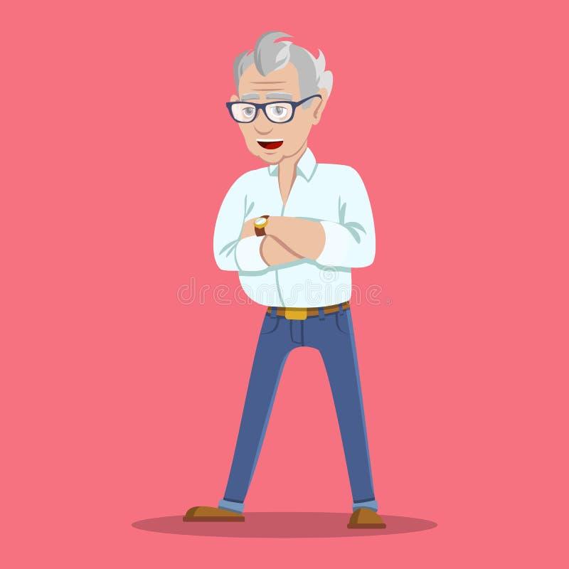 Porträt des Grinsens Flirttrendsetterhippie-Großvaters des modischen eleganten Hippie-Großvaters des wohlhabenden gekleidet im He lizenzfreie abbildung