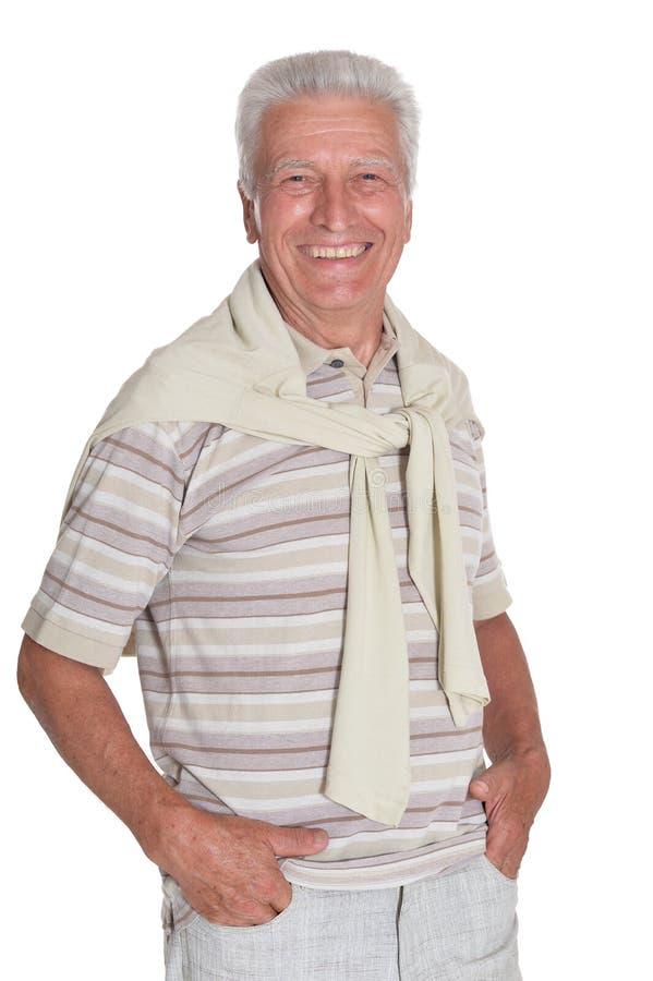 Porträt des Händchenhaltens des älteren Mannes bei der Taschenaufstellung lizenzfreie stockfotos