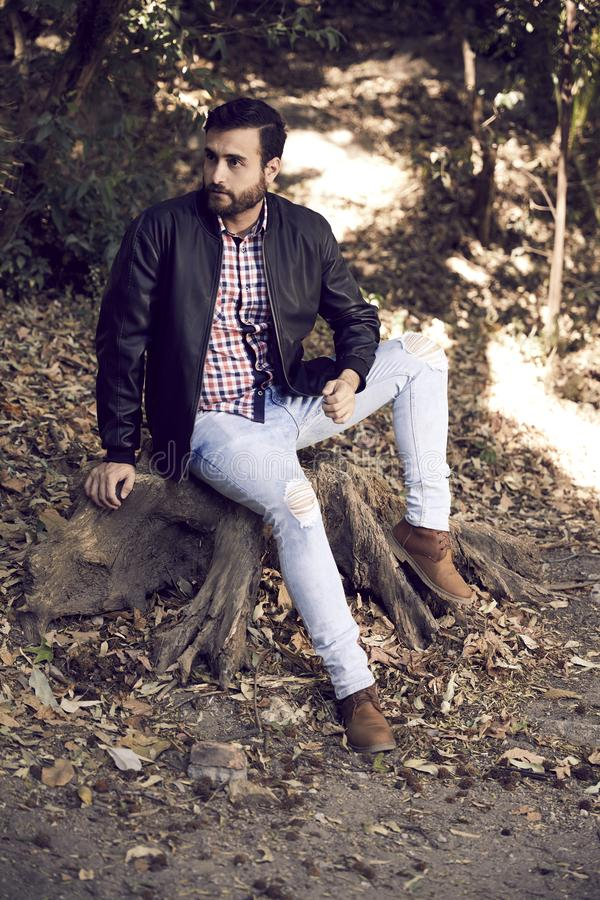 Porträt des hübschen bärtigen Mannes im Freien stockbilder