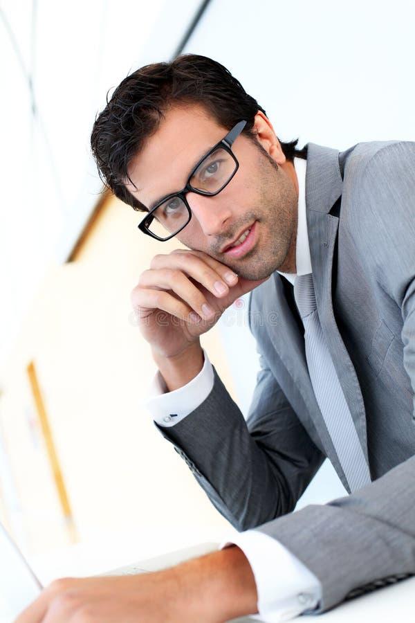 Porträt des hübschen Geschäftsmannes stockfotografie
