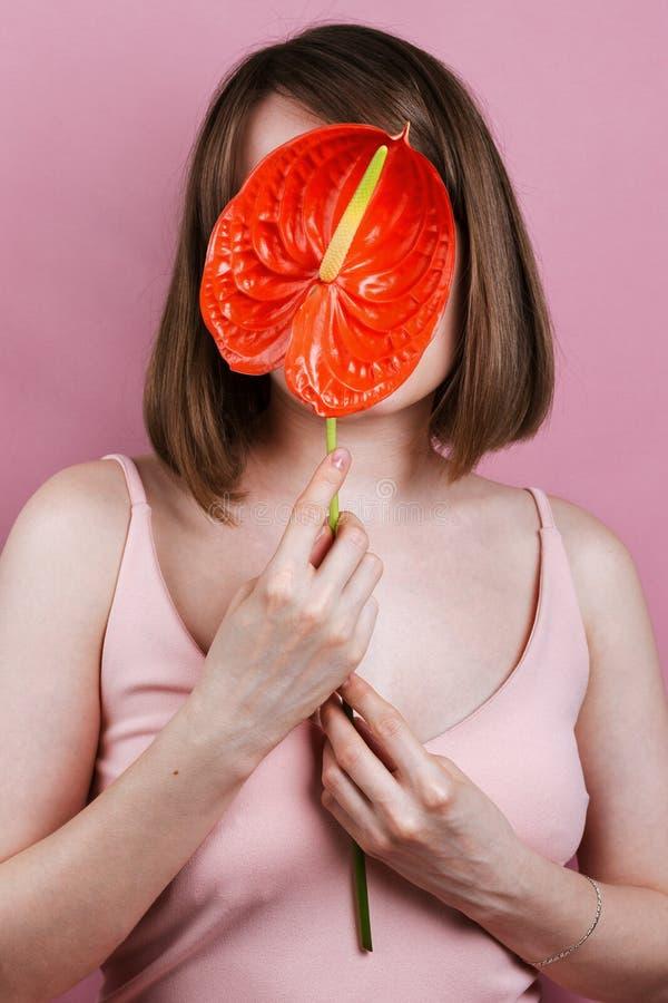 Porträt des haltenen roten Friedens der Frau blühen lilly stockfoto