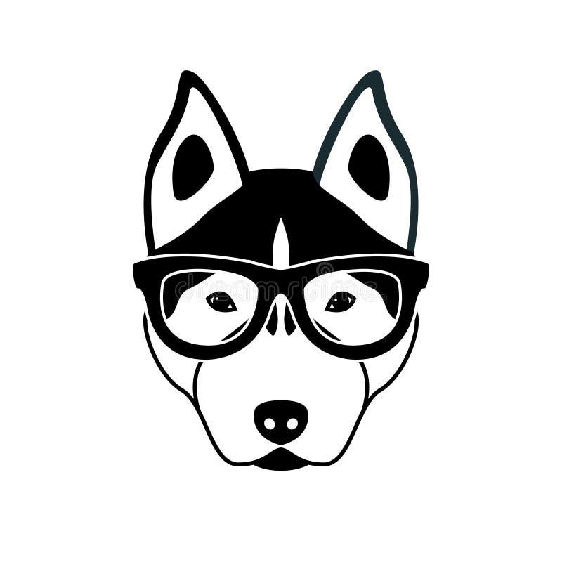 Porträt des heiseren Hundes mit Gläsern, flache Schwarzweiss-Art lizenzfreie abbildung