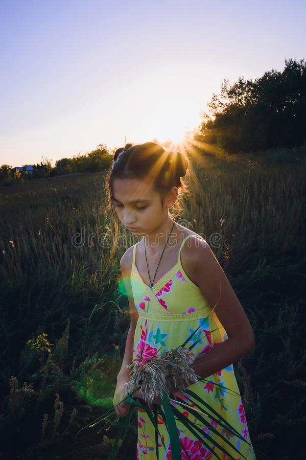 Porträt des jugendlich Mädchens auf einem Gebiet lizenzfreies stockbild