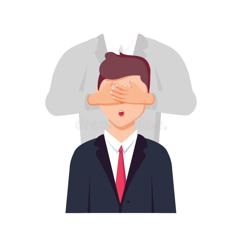 Porträt des jungen Geschäftsmannes, der bedeckte Augen durch Hände von b ist stock abbildung