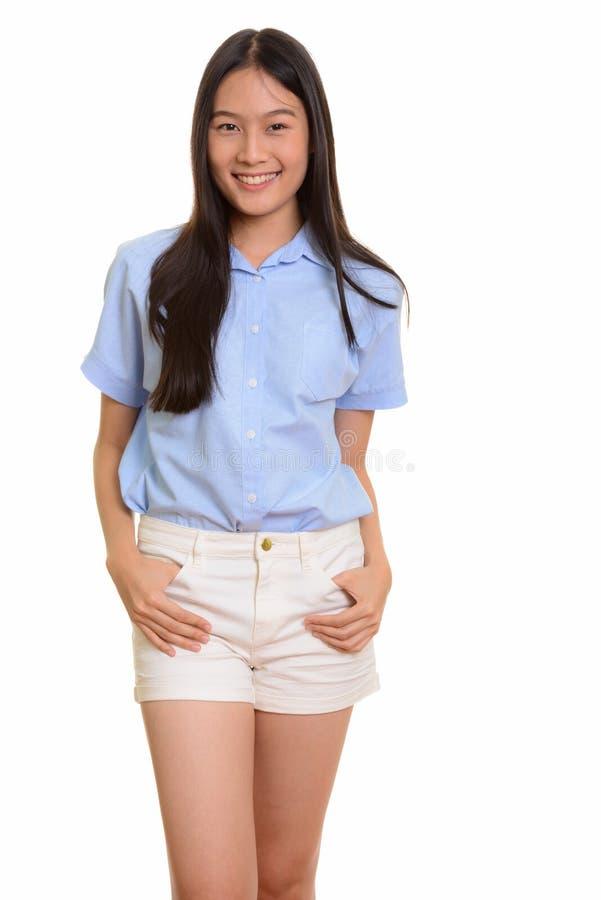 Porträt des jungen glücklichen Asiatinlächelns stockfotos