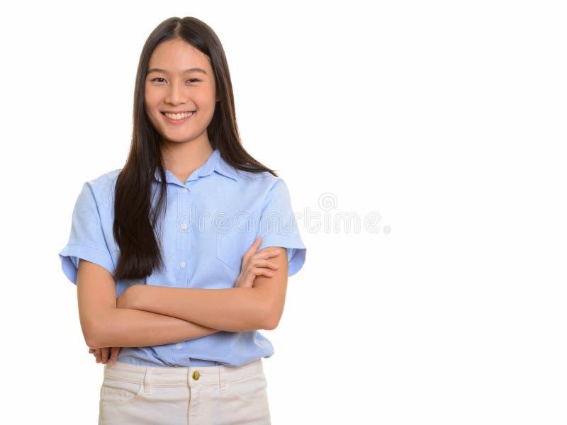 Porträt des jungen glücklichen Asiatinlächelns stockbilder