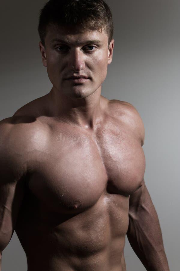 Porträt des jungen hübschen Bodybuilders lizenzfreie stockfotos