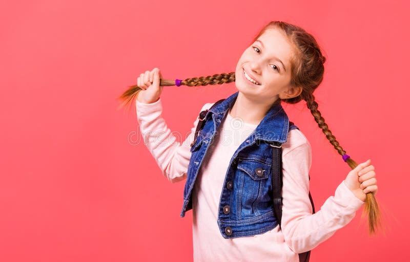 Porträt des jungen kleinen Mädchens mit zwei flicht lizenzfreie stockfotografie