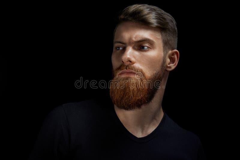 Porträt des kaukasischen Mannes mit großem Bart im schwarzen T-Shirt horizontal lizenzfreie stockfotografie
