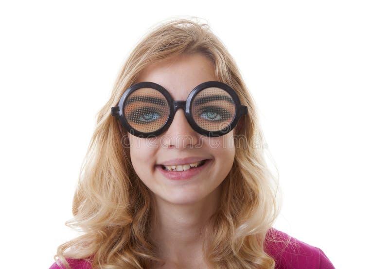 Porträt des Mädchens mit lustigen glases stockfotos