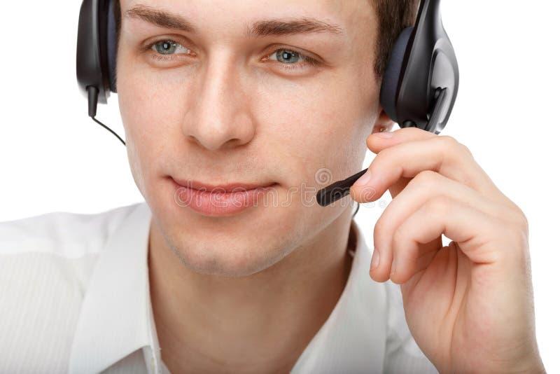 Porträt des männlichen Kundendienstmitarbeiters oder des Call-Centers stockbild