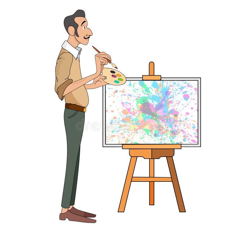 Porträt des männlichen Malerkünstlers und Schnurrbart, der mit der bunten Palette steht nahes Gestell lächelt und malt lizenzfreie abbildung
