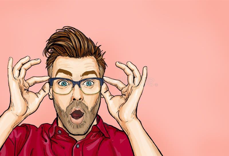 Porträt des Mannes in den Gläsern sagt wow mit offenem Mund, unerwartetes etwas zu sehen lizenzfreie abbildung