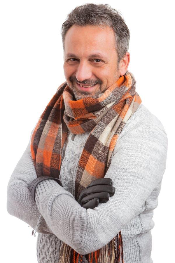 Porträt des Mannes lächelnd mit den gekreuzten Armen stockbilder