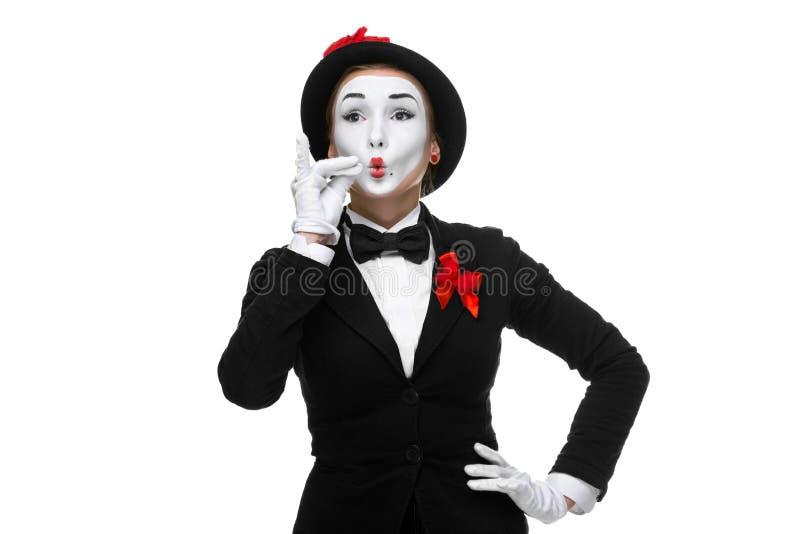 Porträt des Pantomimen, der sehr etwas darstellt stockbilder