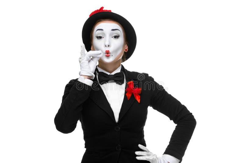 Porträt des Pantomimen, der sehr etwas darstellt lizenzfreie stockfotografie