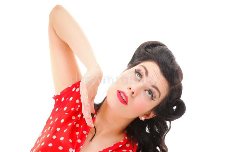 Porträt des Pin-up-Girl mit Make-up und Frisur stockfotos