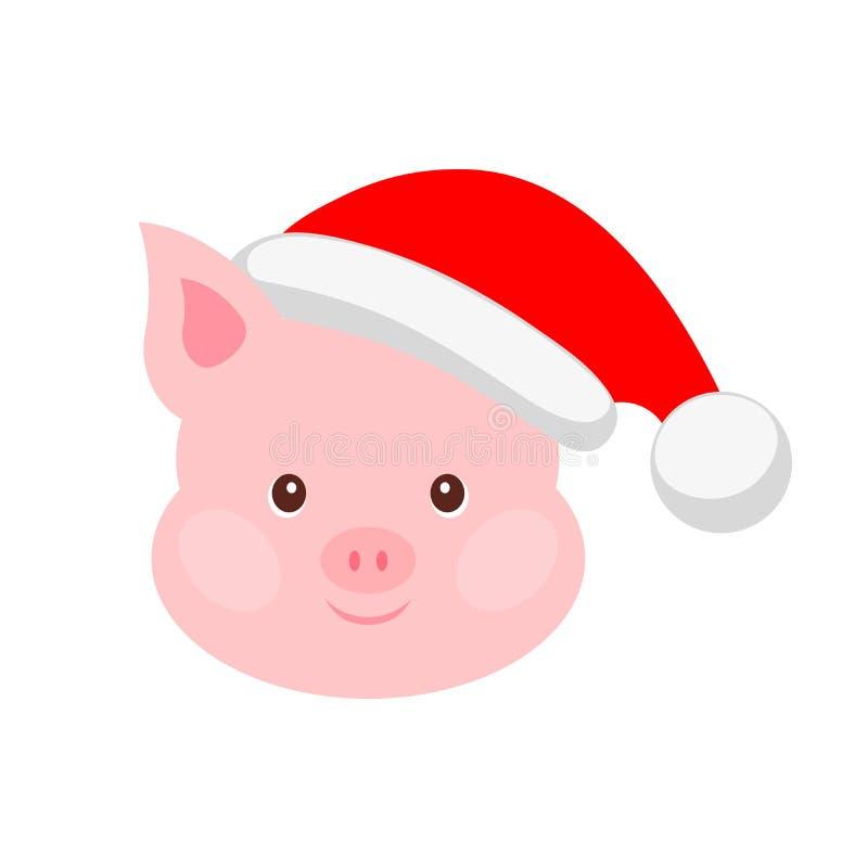 Porträt des rosa Schweins in Sankt-Hut Lustiges Karikaturgesicht des Viehs Vektorillustration, guten Rutsch ins Neue Jahr lizenzfreie abbildung