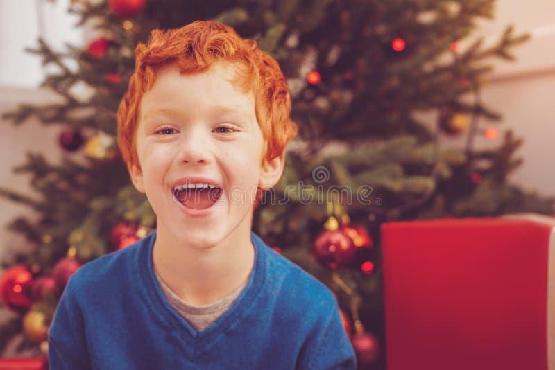 Porträt des rothaarigen Jungen lachend nahe Weihnachtsbaum stockfotos