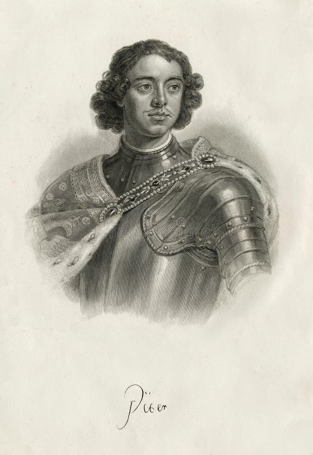 Porträt des russischen Kaisers Peter I Romanov lizenzfreie stockfotos