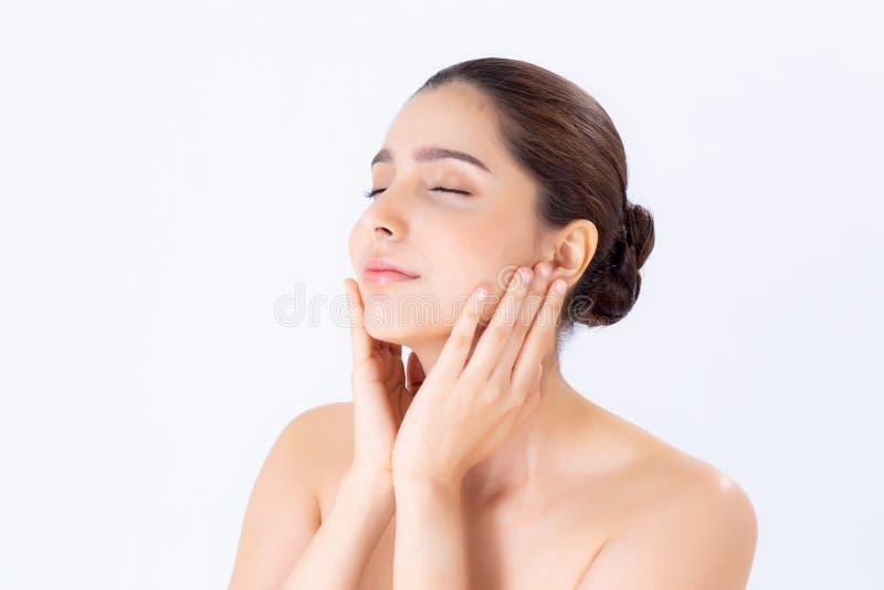 Porträt des schönen Brunettefrauenmakes-up der Kosmetik, der Mädchenhandnotenbacke und des Lächelns attraktiv, Gesicht der Schönh lizenzfreie stockbilder
