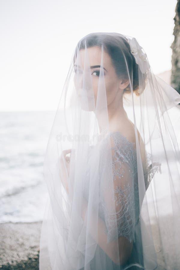 Porträt des schönen Brunettemädchens unter einem Schleier, in einem grauen blauen Kleid, Meer, Welle, Nahaufnahme stockbilder