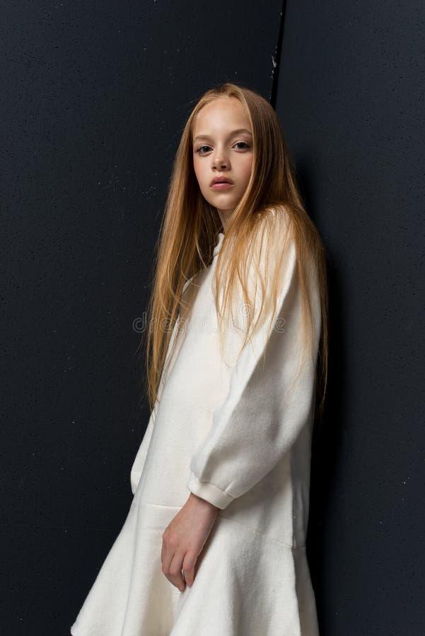 Porträt des schönen jungen Rothaarigemädchens, das im Studio aufwirft stockfotos