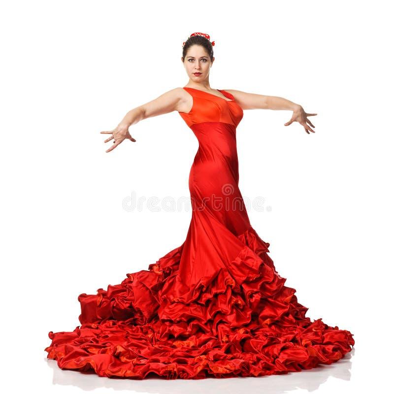 Porträt des schönen Tanzenflamencos der jungen Frau lizenzfreies stockbild
