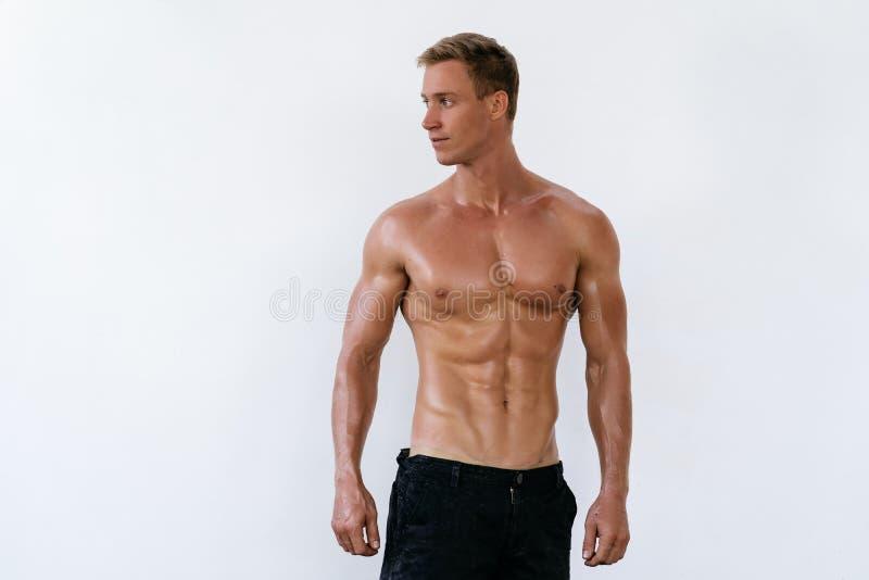 Porträt des sexy athletischen Mannes mit dem nackten Torso auf weißem Hintergrund Hübscher Kerl mit muskulösem Körper stockfotos