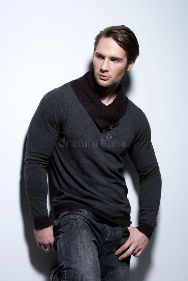 Porträt des sexy gutaussehenden Mannes im grauen Pullover. lizenzfreie stockfotografie