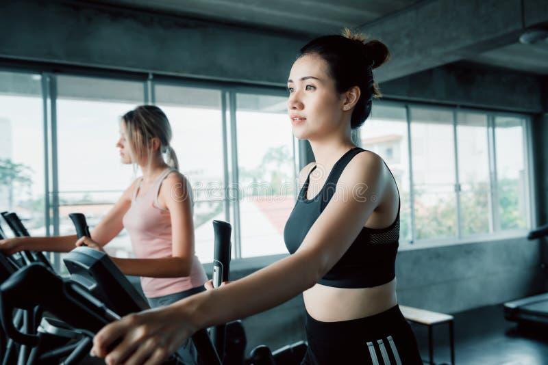 Porträt des sportlichen Frauentrainierens elliptisch in der Eignungsturnhalle , Gruppe hübsche Frauen in der Sportkleidung Herz T lizenzfreie stockbilder