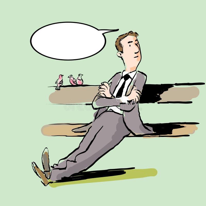 Porträt des stillstehenden Mannes Stillstehender Geschäftsmann Denkender Mann vektor abbildung