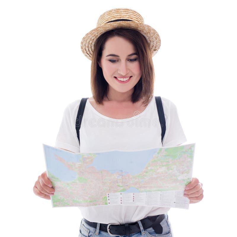 Porträt des Touristen der jungen Frau mit dem Stadtplan lokalisiert auf Weiß lizenzfreies stockbild