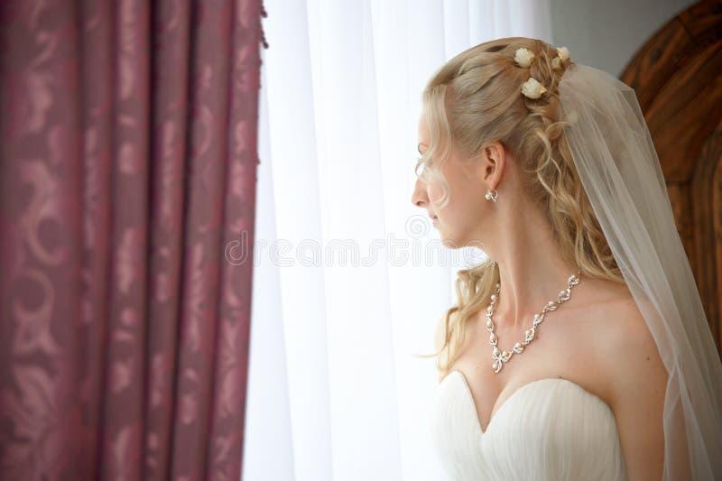Porträt des tragenden Hochzeitskleides und -zusatzes der Braut stockbilder