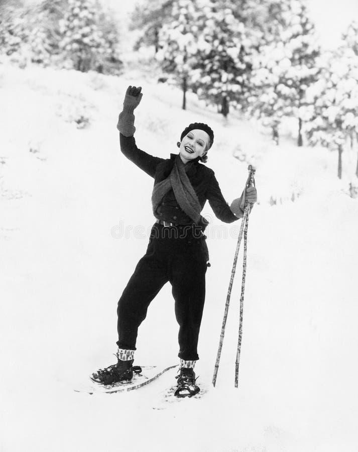 Porträt des weiblichen snowshoer (alle dargestellten Personen sind nicht längeres lebendes und kein Zustand existiert Lieferanten lizenzfreies stockfoto